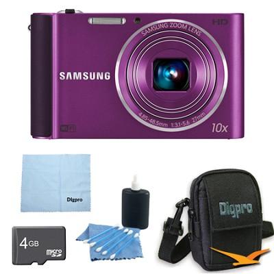ST200F 16 MP 10X Wi-Fi Digital Camera - Plum 4GB DELUXE BUNDLE
