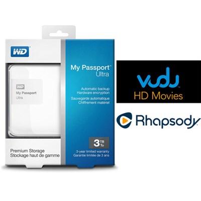 My Passport Ultra 3 TB Portable External HD White + $30 Vudu & 3 Months Rhapsody