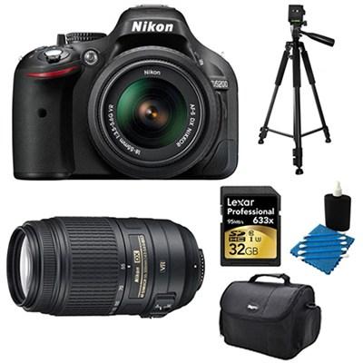 D5200 DX-Format Black 32 GB SLR Camera with 18-55mm and 55-300mm VR Lens Bundle