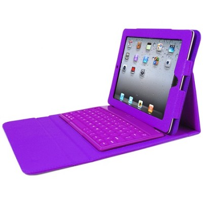 Faux Leather Case with Built-in Bluetooth Keyboard for iPad 2, 3, & 4 - Purple