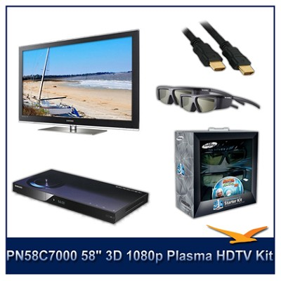 PN58C7000 - 58` 3D 1080p Plasma HDTV Kit w/ 4 3D Glasses and Blu-Ray Player