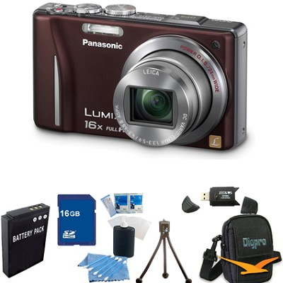 Lumix DMC-ZS10 14.1 MP Camera 16x Zoom Optical I.S. Lens w GPS Brown 16GB Bundle