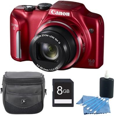 PowerShot SX170 IS 16MP Digital Camera Red 8GB Kit