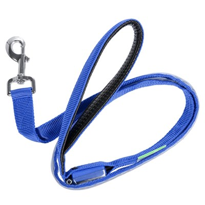 LED Dog Leash w/3 Light Modes for Night Safety, USB Rechargeable - Blue