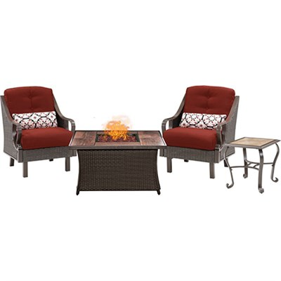 Ventura Fire Pit Chat Set with Wood Grain Tile Top - VEN3PCFP-RED-WG