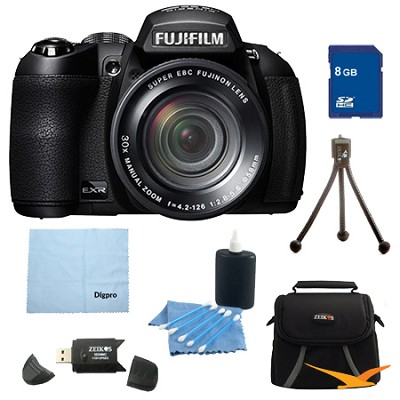 FinePix HS25EXR 16MP BSI EXR CMOS Digital Camera 8 GB Bundle