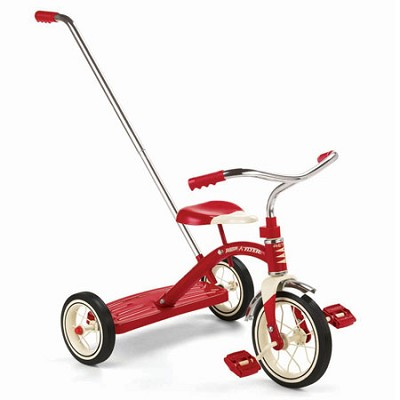 34T Classic Red 10` Tricycle w/ Push Handle