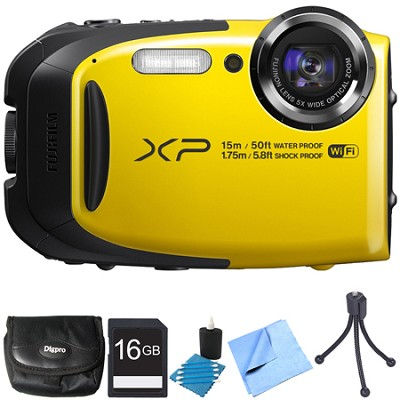 FinePix XP80 16MP Waterproof Digital Camera Yellow 16GB Bundle