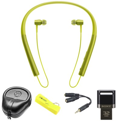 Wireless In-ear Bluetooth Headphones w/ NFC - Yellow w/ 32 GB Flash Drive Bundle