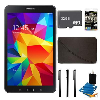 Galaxy Tab 4 Black 16GB 8` Tablet, 32GB Card, and Case Bundle