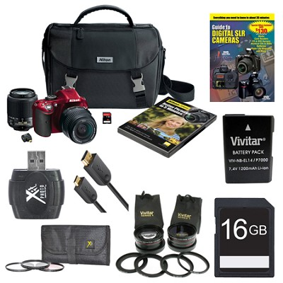 D5200 24.1MP DSLR Camera Kit w/ 18-55mm & 55-200mm  Red 4 Lens Ultra Pack