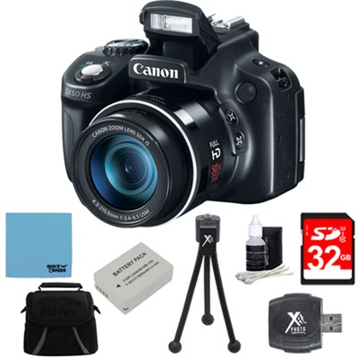 Powershot SX60 HS 65x Zoom High-Performance Camera 32GB Bundle