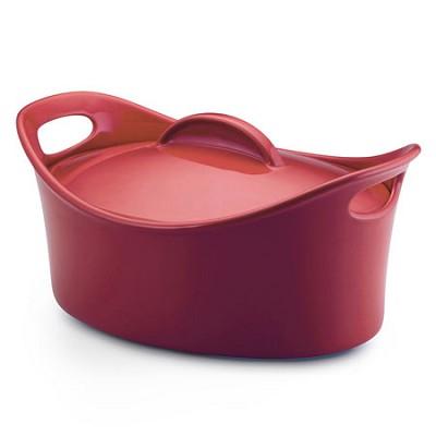 Stoneware Casseroval 4.25-Quart Covered Baking Dish, Red