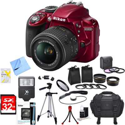 D3300 DSLR 24.2 MP HD 1080p Camera with 18-55mm VR Lens Ultimate Bundle (Red)