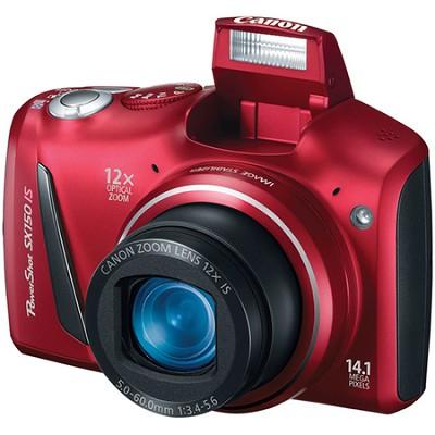 Powershot SX150 IS 14MP 12x Zoom Red Digital Camera w/ 720p HD Video