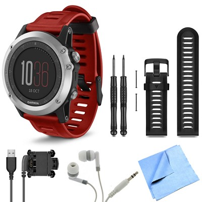 fenix 3 Multisport Training Silver GPS Watch Black Band Bundle