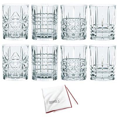 Highland Tumbler 2-Sets of 4 Whiskey Glasses w/ Large Polishing Cloth