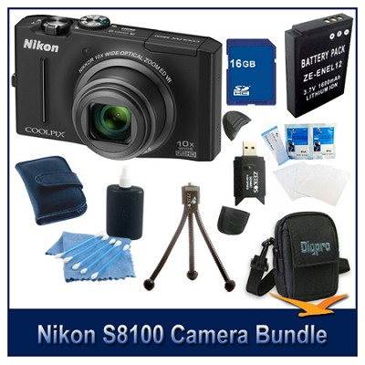 COOLPIX S8100 Black Camera 16GB Bundle w/ Reader, Case, Battery, Tripod, & More