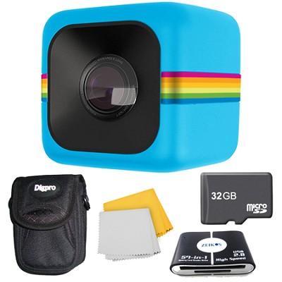 POLC3 Cube HD Digital Video Action Camera 32GB Accessory Bundle (Blue)