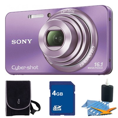 Cyber-shot DSC-W570 Purple Digital Camera 4GB Bundle