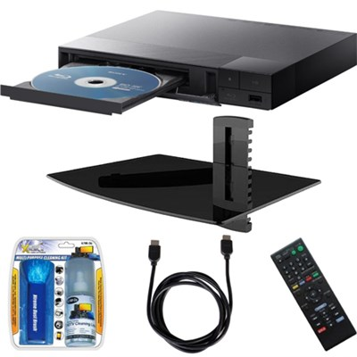 BDP-S1700 Streaming Blu-ray Disc Player w/ Glass Media Shelf + Accessory Bundle