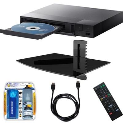 BDP-S1700 Streaming Blu-ray Disc Player w/ Glass Media Shelf + Accessory Bundle