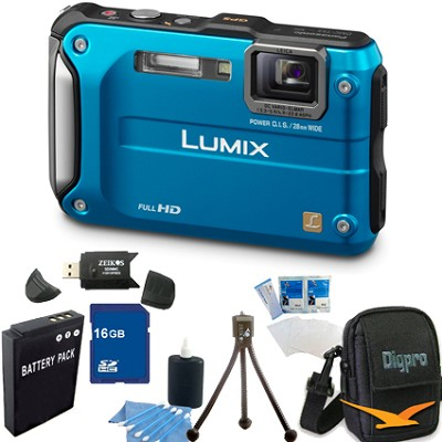 Lumix DMC-TS3 Blue Shockproof Freezeproof Dustproof Camera 16GB Bundle