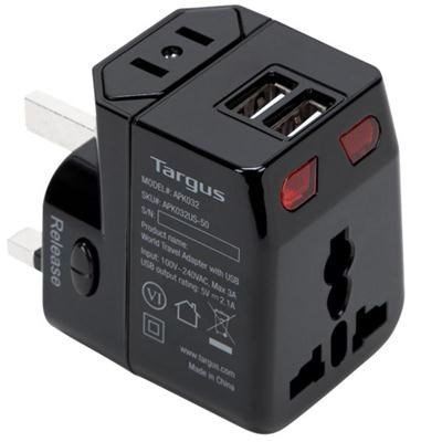 World Travel Power Adapter with Dual USB Charging Ports - APK032US