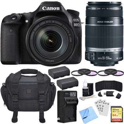 EOS 80D CMOS DSLR Camera w/ EF-S 18-135mm + 55-240mm Telephoto Lens 64GB Bundle