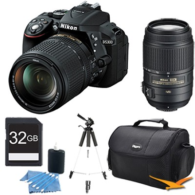 D5300 DX-Format 24.2 MP DSLR Camera 18-140mm Kit Lens and 55-300mm Lens Bundle