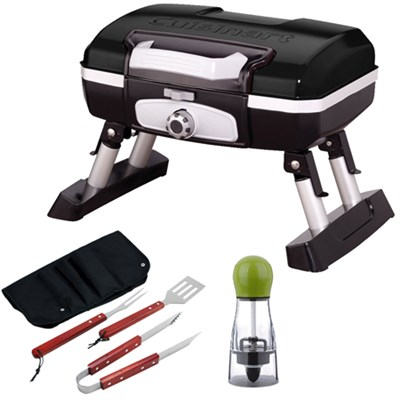 Gourmet Portable Gas Grill, Petit, Black with BBQ Bundle