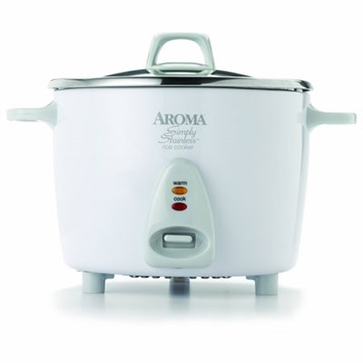 Professional 14 Cup Simply Stainless Pot Style Rice Cooker - White - OPEN BOX