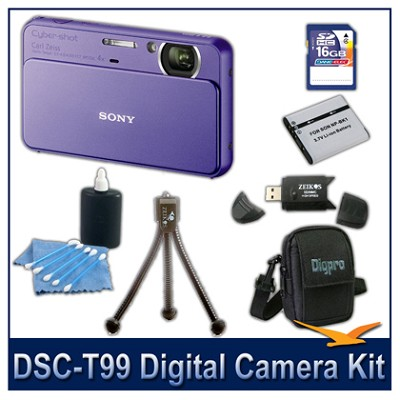 DSC-T99 14MP Violet Touchscreen Digital Camera with 16GB Card, Case, and more