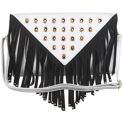 Fringe Clutch with Gold Detail Hardware in White