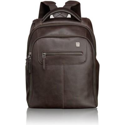 Steel City Slim Leather Backpack 054180B - Brown