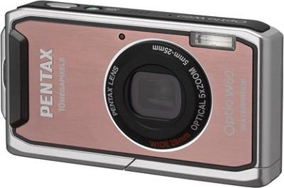 Optio W60 Waterproof 10MP Digital Camera w/ 5X Optical Zoom (Pink)