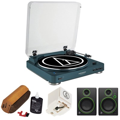 Fully Automatic Wireless Belt-Drive Stereo Turntable-Navy w/ Studio Monitor Kit