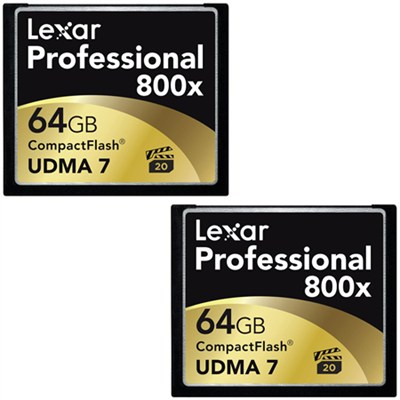 64GB Professional 800x Compact Flash Memory Card (LCF64GCTBNA800) 2-Pack Bundle