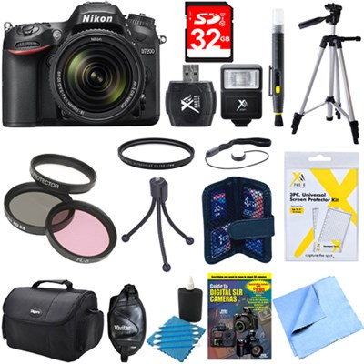 D7200 DX-format Black Digital SLR Camera Kit with 18-140mm VR Lens Deluxe Bundle