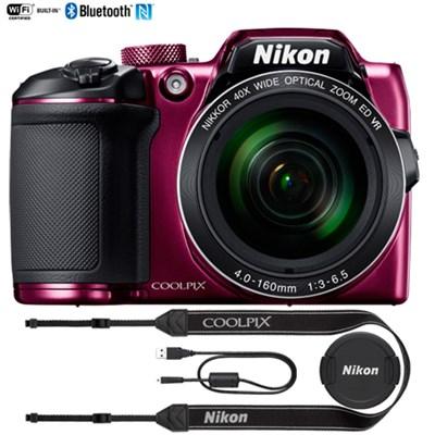 COOLPIX B500 16MP 40x Opt Zoom Digital Camera Wi-Fi (Plum) Certified Refurbished