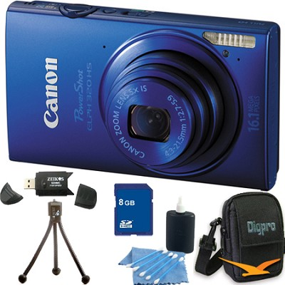 PowerShot ELPH 320 HS 16MP Blue Digital Camera 16GB Bundle