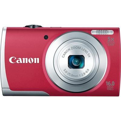 PowerShot A2600 Red 16MP Digital Camera with 5x Optical Zoom, 720p HD Video