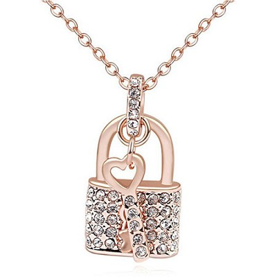Swarovski Element 18k Gold Plated, Crystal Lock and Key Necklace