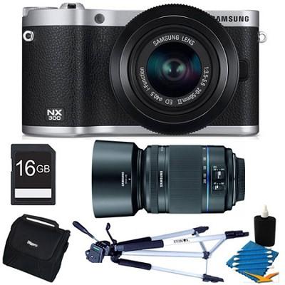NX300 20.3 MP Digital Camera Black 16GB Two Lens Bundle With 50-200 Zoom
