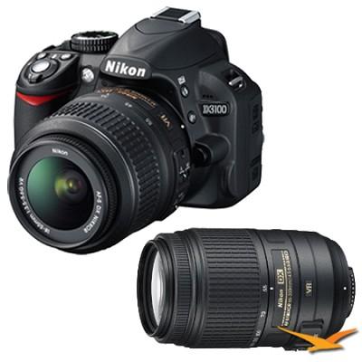 D3100 14MP DX-format Digital SLR Kit w/ 18-55mm and Nikon 55-300mm VR