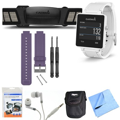 vivoactive GPS Smartwatch White with Heart Rate Monitor Purple Band Bundle