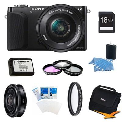 NEX-3NL Black Digital Camera 16-50mm Lens 16GB 20mm f/2.8 Lens Bundle