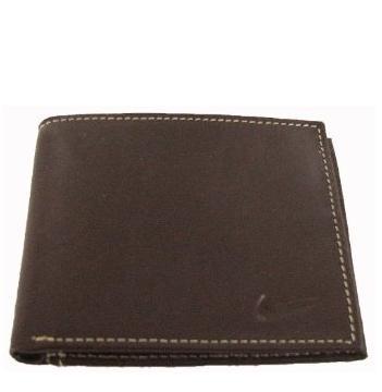 Bi Fold Pebble Grain Leather Wallet with Embossed Swoosh (Brown)