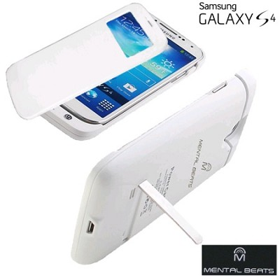 Battery Case with Protective Screen Cover For Samsung Galaxy S4 - White