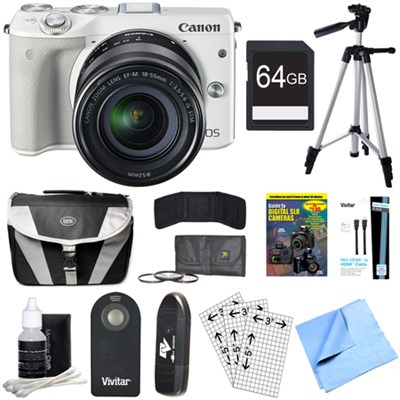 EOS M3 24.2MP White Mirrorless Camera with EF-M 18-55mm IS STM Lens 64GB Bundle